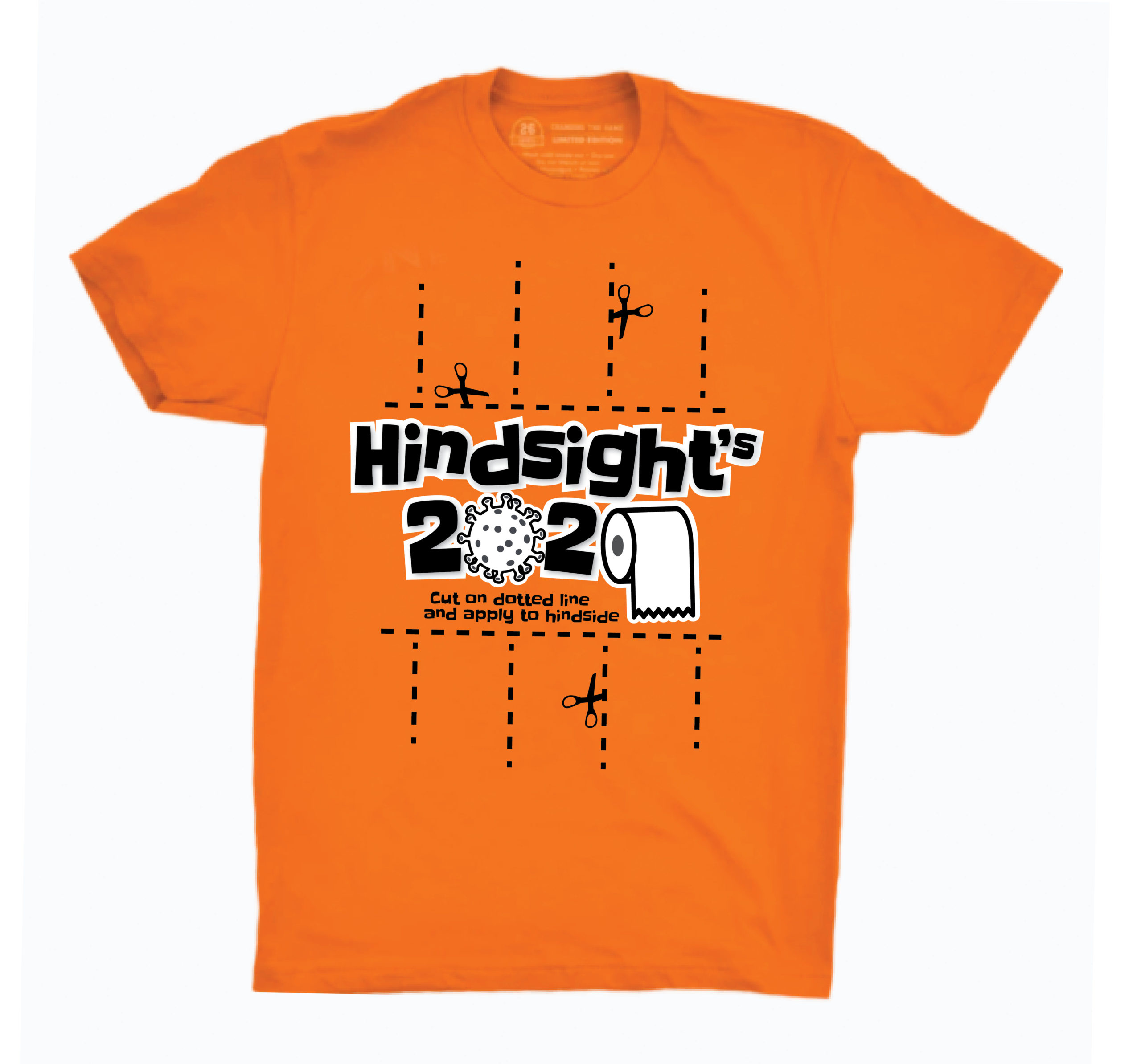 Orange shirt with Hindsight's 2020 graphic on front